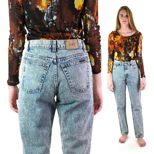 Classic Vintage 80s High Waist Acid Wash Jeans