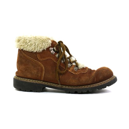 Vintage 90s Brown Suede Lace Up Ankle Boots with Faux Fur Lining Women's Size 9