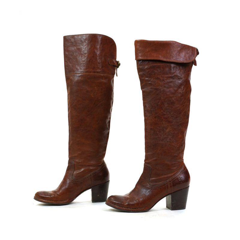 Frye Brown Leather Lucinda Slouch Boots Pre Loved Women's Size 8.5