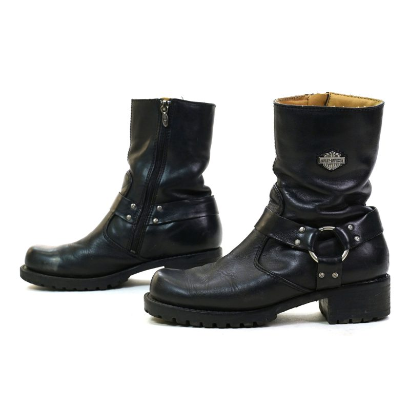 Vintage 90s Harley Davidson Motorcycle Ankle Boots with Buckle Ankle Harness Women's Size 8