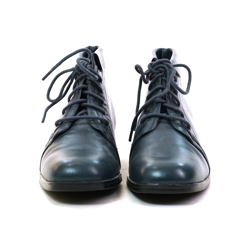 Grey Blue Leather Lace Up Boots Size 7