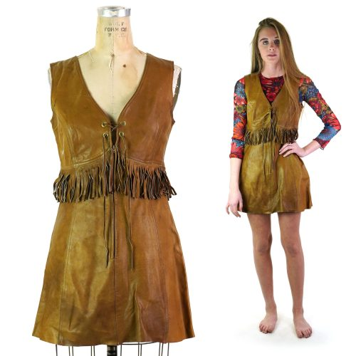 Vintage 60s Leather Mini Dress by Zig Zag San Francisco Women's Size Small
