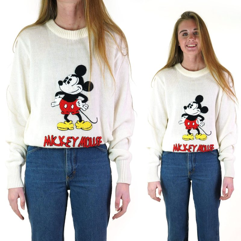 Vintage 70s Mickey Mouse Pullover Sweater Size Large