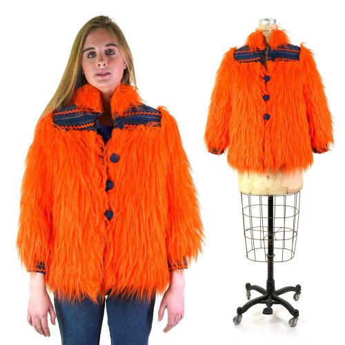 Orange Faux Fur Coat Handmade 60s
