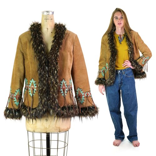 Rare Patricia Wolf Southwestern Suede Jacket with Fringe & Faux Fur Trim Women's Size Medium