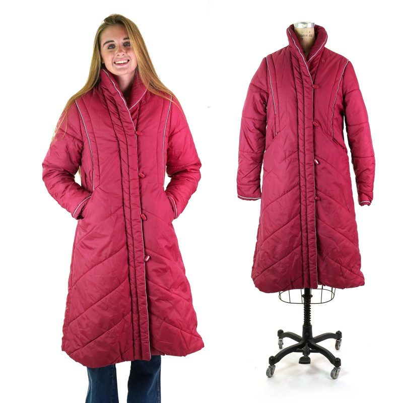 Vintage 80s Puffy Quilted Long Parka Women's Medium