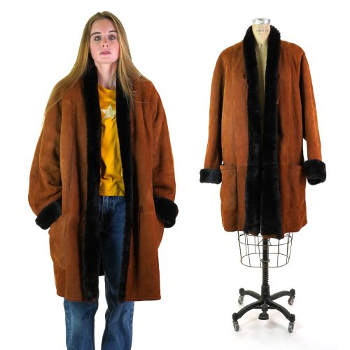 Vintage 90s Neiman Marcus Shearling Coat Women's Size Large