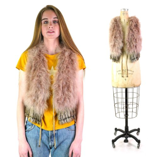 Rare Vintage Emu Feather and Fur Vest by Custo Barcelona