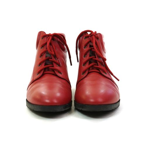 Red Leather Lace Up Ankle Boots by Danexx Vintage 90s