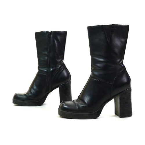 Vintage 90s Vegan Platform Ankle Boots with Chunky Block Heels Women's Size 8