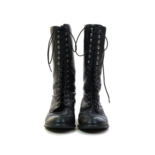 Zodiac Black Leather Lace Up Tall Ankle Boots Size 8.5 Vintage 80s