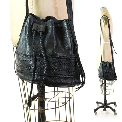 Vintage 80s Black Drawstring Leather Crossbody Bucket Bag