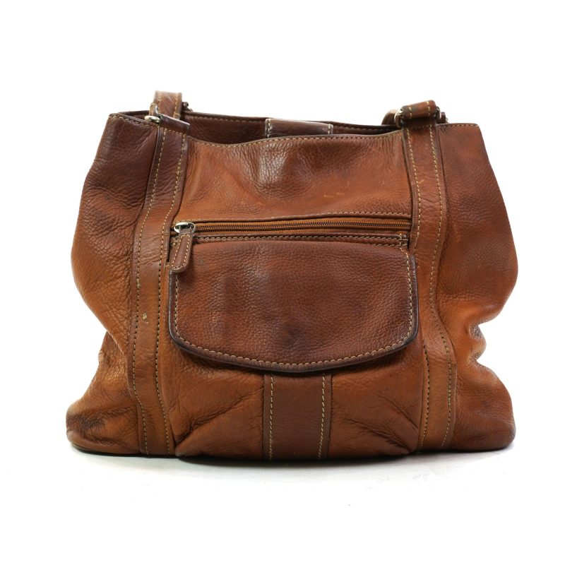 Vintage 90s Brown Leather Fossil Brand Hobo Bag