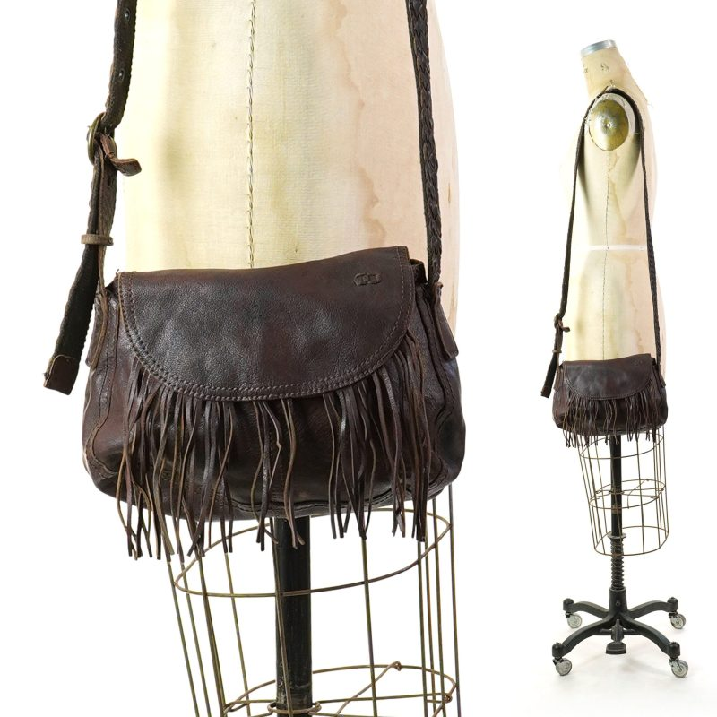 Pre Owned Y2K Fringed Brown Leather Crossbody Bag by Bed Stu