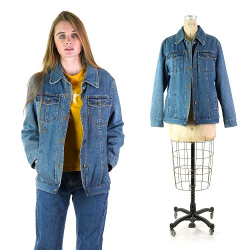 Vintage 90s Lined Denim Jacket by Liz Claiborne Size Medium
