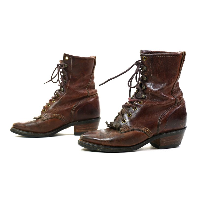 Brown Leather Lace Up Ankle Boots Women's Size 9