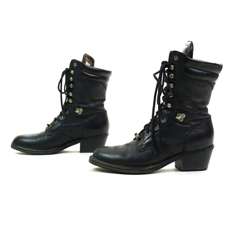 Black Leather Lace Up Packer Ankle Boots Women's Size 10
