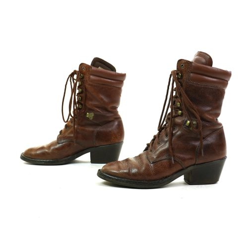 Brown Leather Lace Up Packer Ankle Boots Women's Size 9.5