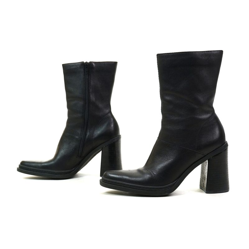 Chunky Block Heel Black Leather Ankle Boots Size 7.5
