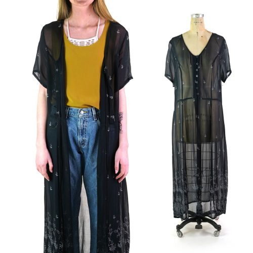 Sheer Black Rayon Maxi Babydoll Duster Vintage 90s Size Large