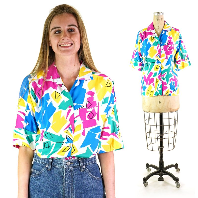 80s Abstract Paint Print Shirt Size Small