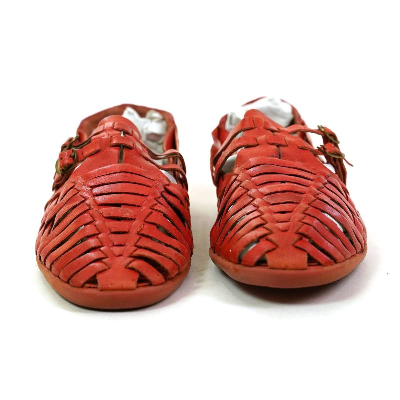 90s Woven Red Leather Huarache Sandals Size 9