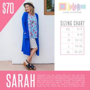 Sarah Cardigan Sizing Chart