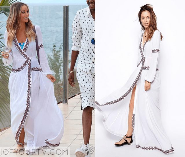 Laurens White Wrap Maxi Dress