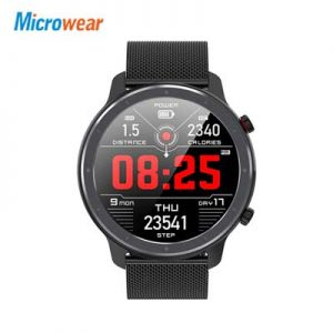Microwear L11 Smart Watch Touch Screen Sport Tracker Heart rate ECG Blood pressure Call reminder bluetooth IP68 Men Smartwatch-Black Leather