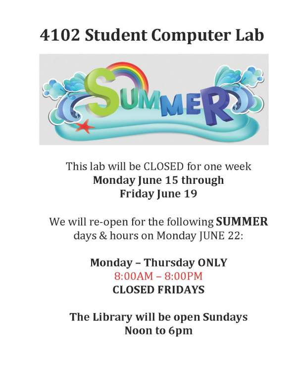 computer lab summer hours