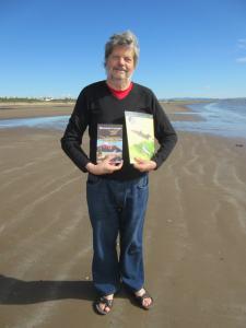 Duncan Lunan on Troon Beach photo: Linda Lunan