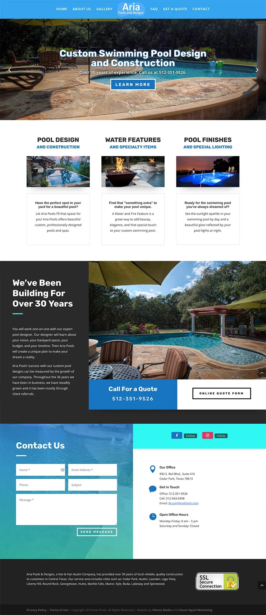 Aria Pools Austin Web Design