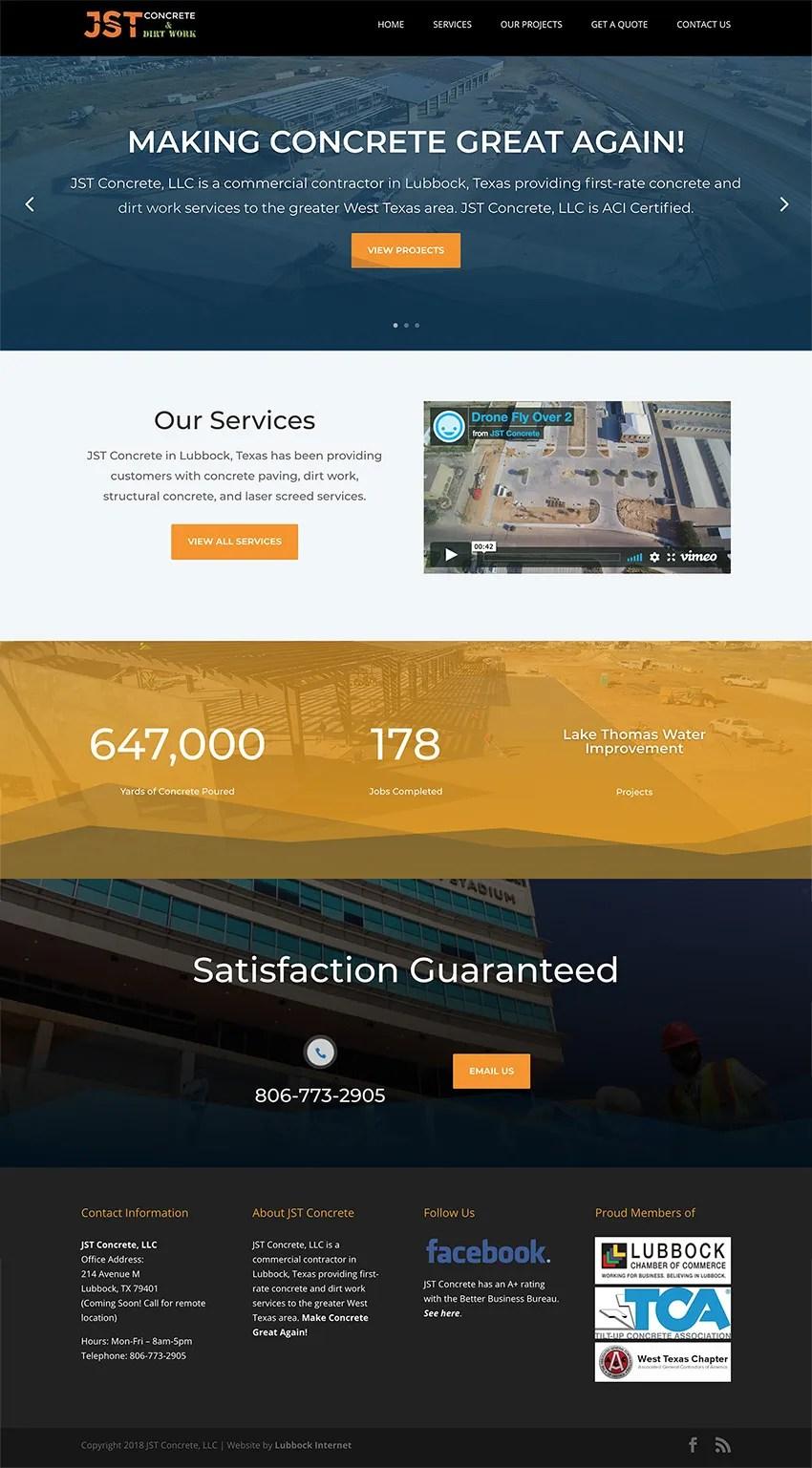 JST Concrete Lubbock Web Design