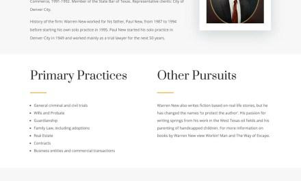 Website update for Attorney Warren New in Denver City