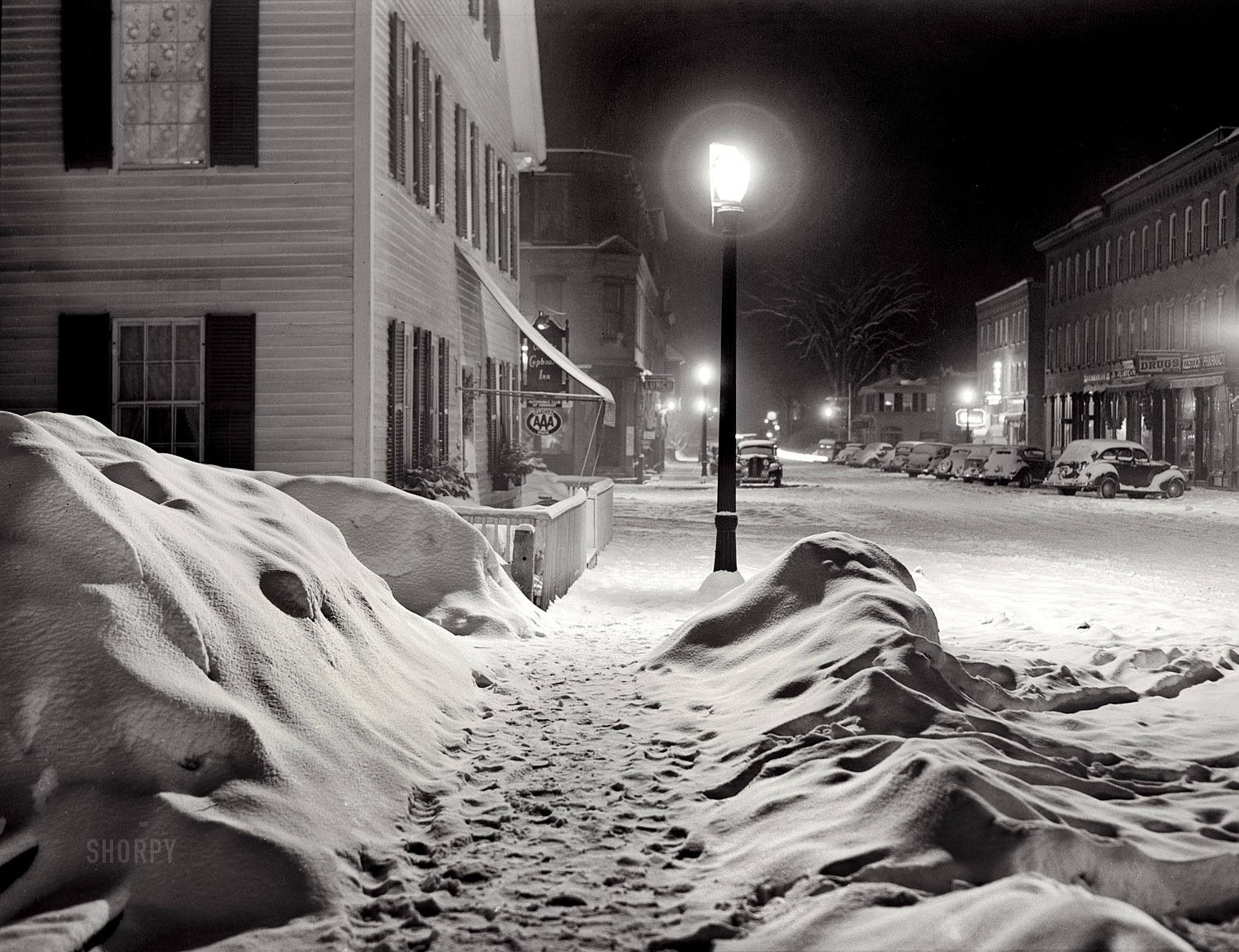 Image result for a snowy dark town