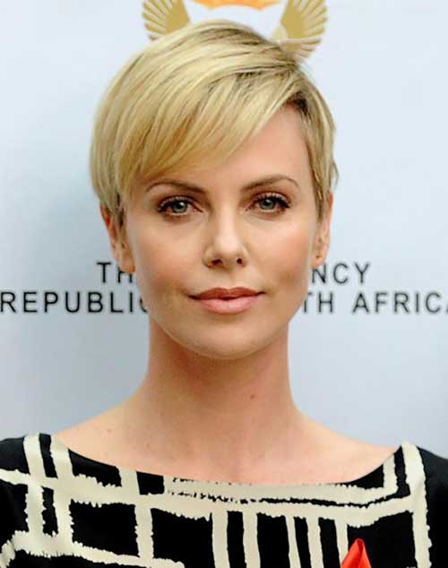 Charlize Theron Short Casual Pixie Haircut