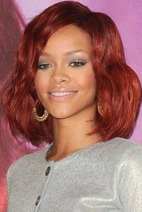 Rihanna Red Bob Haircut