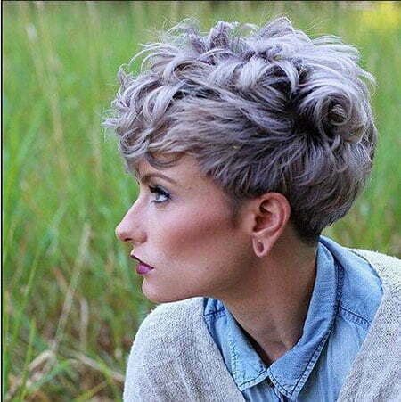 Grey Colored Thick Hair, Pixie Short Choppy Messy
