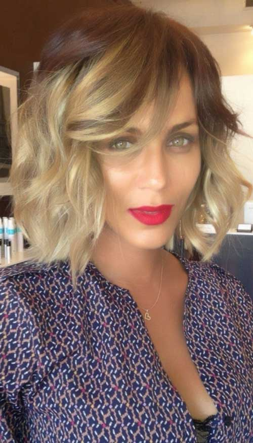 Long Bob with Bangs Pretty /brown Ombre Hair Colors