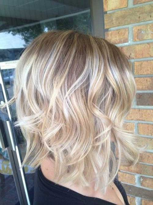 Wavy Short Blonde Ombre Hairstyle
