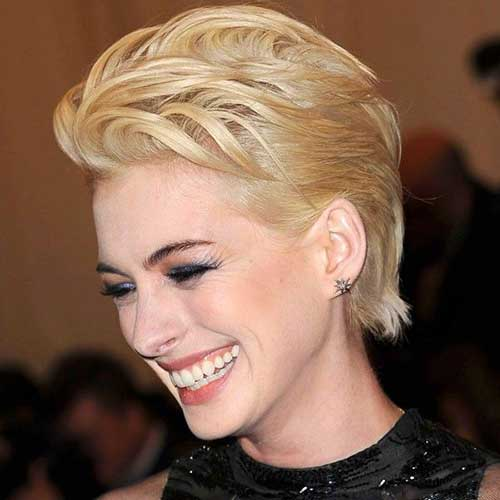 Anne Hathaway Blonde Pixie Cut
