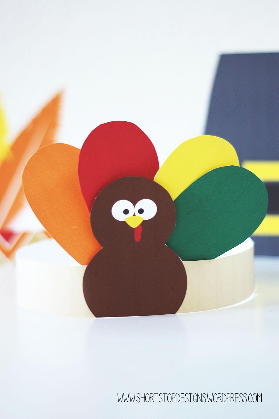 Thanksgiving Kids Hats - Free Printables - Short Stop Designs