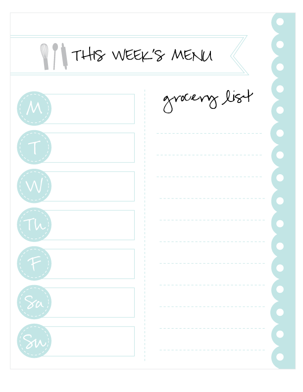 photo about Printable Menu named Printable Menu Planner Quick Avert Ideas