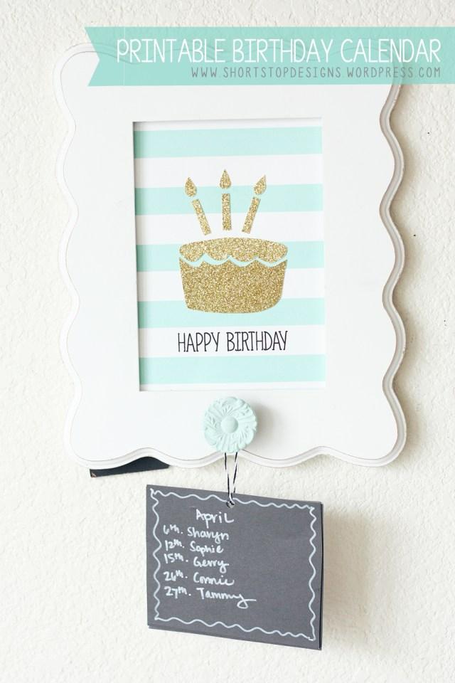 Birthday calendar 1