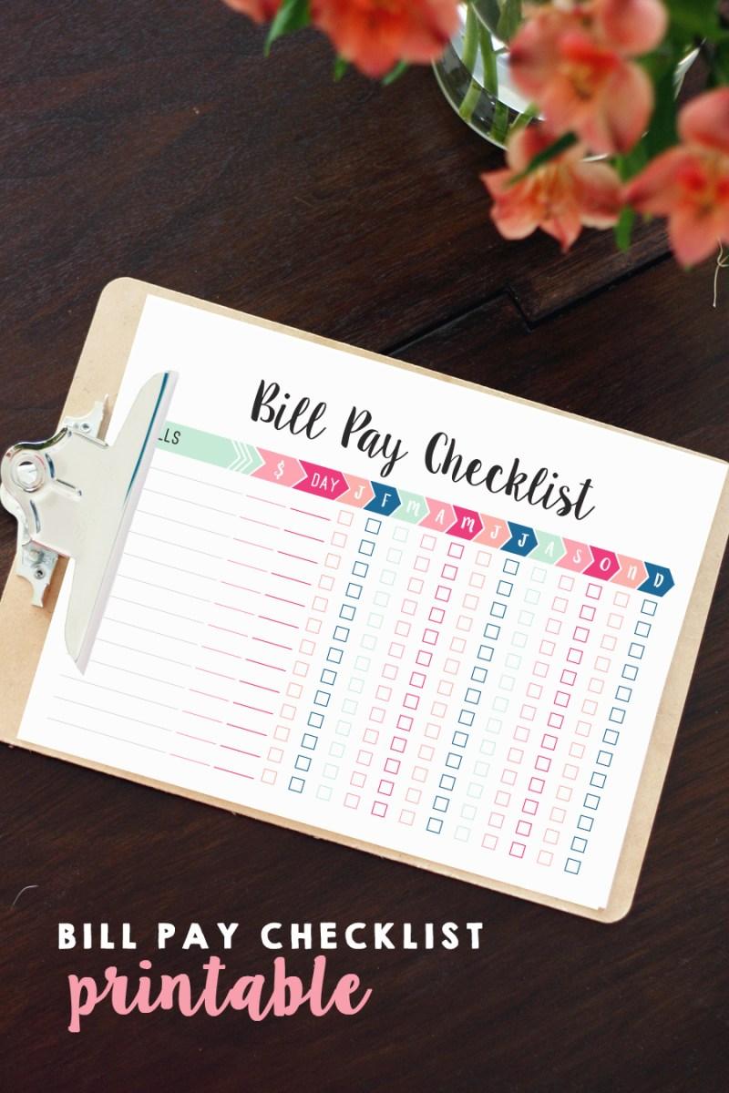 Bill Pay Checklist Printable