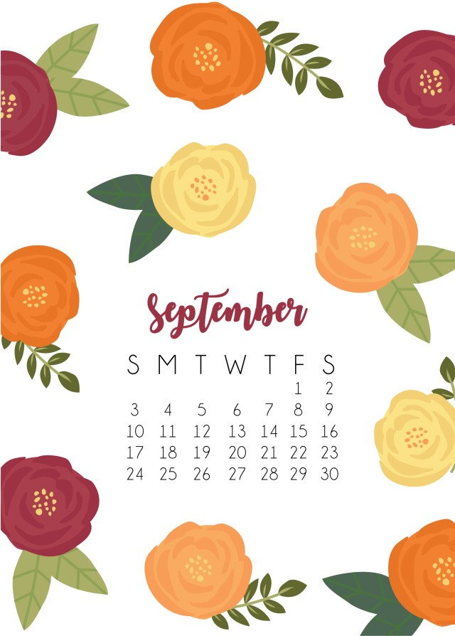 September Calendar 2017 Phone Wallpaper