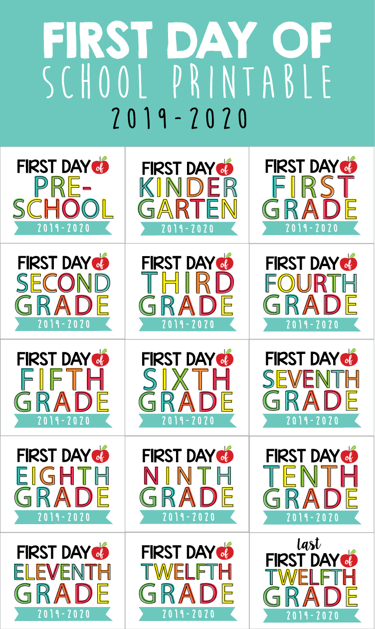 photo regarding First Day of School Sign Printable called Initial Working day of Faculty Signal Printable Limited Avoid Programs