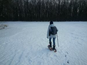 shortyknits winter geocaching snowshoes