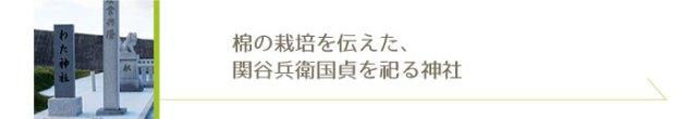 綿の栽培を伝えた、関谷兵衛国貞を祀る神社、綿神社