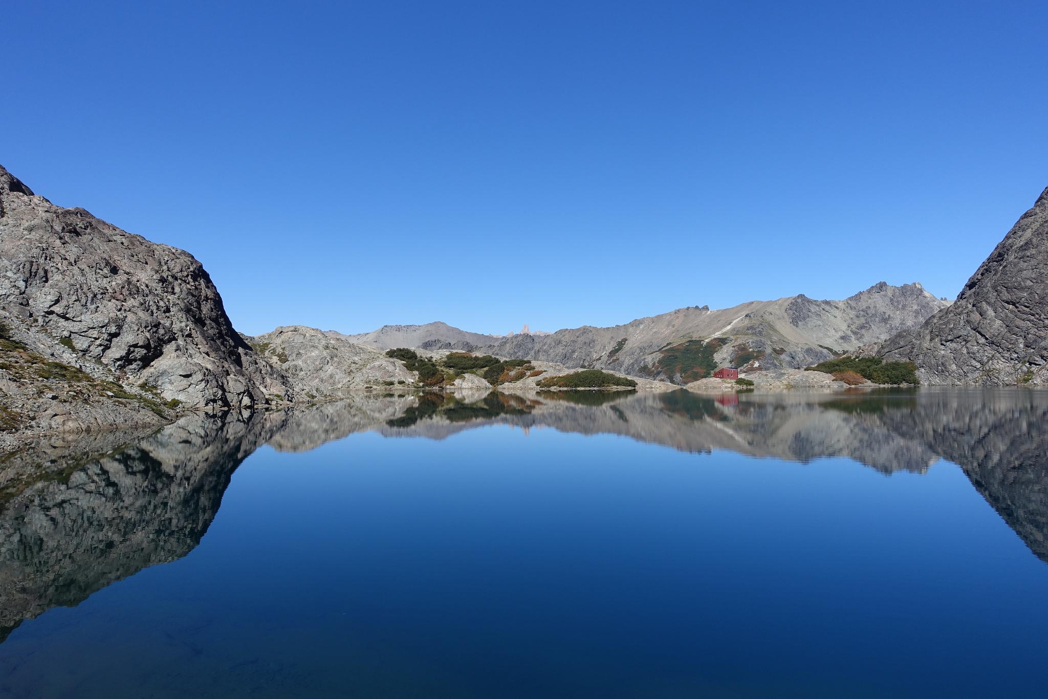 Laguna Negra, Refugio, and Cerro Catedral sticking up in the back